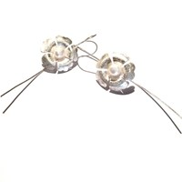 'Forget Me Not' By Houghton Davies Jewellery Freshwater Pearl Flower Drop Earrings Silver