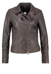 Oakwood Leather Jacket Gris Clair Light Grey