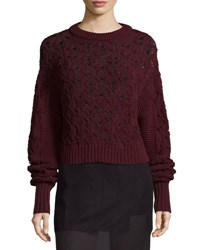 Public School Seed Stitched Cable Knit Pullover Sweater Burgundy