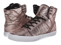 Supra Skytop Rose Gold Metallic White Men's Skate Shoes Brown