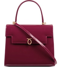 Launer Traviata Patent Leather Handbag Raspberry