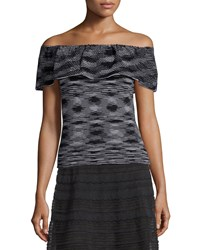 M Missoni Off The Shoulder Space Dye Top Black Size 42