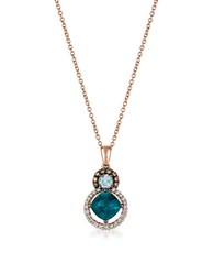 Levian Diamonds Topaz Aquamarine And 14K Rose Gold Pendant Necklace White Gold