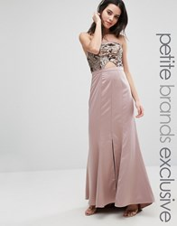 True Decadence Petite Bandeau Maxi Dress With Cutout Bodice And Train Detail Rose Gold