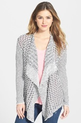 Two By Vince Camuto Drape Front Open Cardigan White