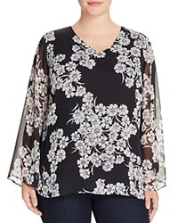 Vince Camuto Plus Floral Sheer Bell Sleeve Blouse Rich Black