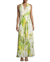 Carmen Marc Valvo Sleeveless Accordion Pleated Halter Gown Lime Green