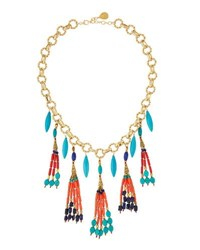 Devon Leigh Multi Stone Tribal Inspired Beaded Tassel Pendant Necklace