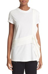 3.1 Phillip Lim Women's Ruffle Trim Silk And Organic Cotton Jersey Tee White