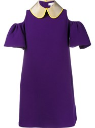 Delpozo Cut Out Shoulder Mini Dress Pink Purple