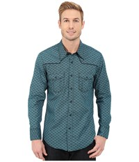 Rock And Roll Cowboy Long Sleeve Snap B2s5418 Turquoise Men's Long Sleeve Button Up Blue