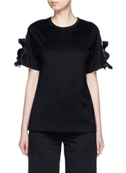 Toga Archives Ruffle Trim Split Cuff T Shirt Black