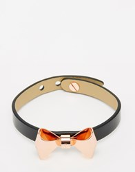 Ted Baker Black Leather Bow Bracelet Black