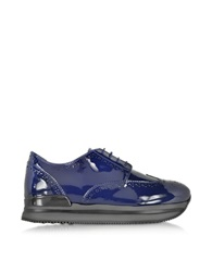 Hogan H222 Blue Patent Leather Wingtip Derby Sneaker