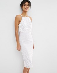 Asos Floral Grid Lace Crop Top Pencil Midi Dress Ivory