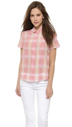 Marc By Marc Jacobs Blurred Gingham Blouse Piggy Pink Multi