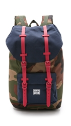 Herschel Little America Backpack Woodland Camo Navy Red