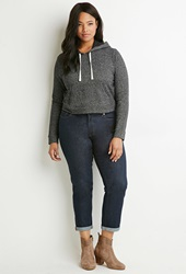 Forever 21 Contrast Lined Drawstring Hoodie Charcoal