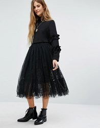Navy London Lace Layered Skirt Black