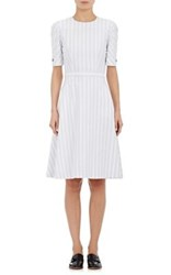 Thom Browne Women's Striped Cotton Fit And Flare Dress Light Grey Size 8 Us