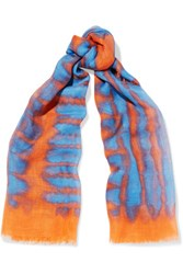 Proenza Schouler Tie Dyed Cashmere And Silk Blend Scarf Orange