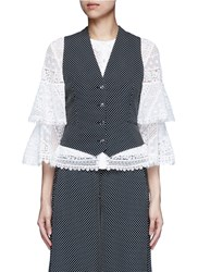 Temperley London 'Phoenix' Diamond Jacquard Cross Back Waistcoat Black