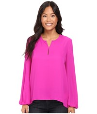 Ellen Tracy Bishop Sleeve Blouse Rosette Women's Blouse Red