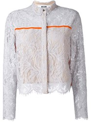 Msgm Lace Overlay Cropped Jacket Grey