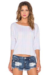Wildfox Couture Pastel Summer Plaid Sweater Blue