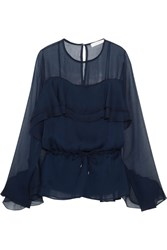 See By Chloe Ruffled Chiffon Blouse Navy