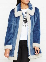 Unreal Fur Candy Blossom Contrast Edge Fauf Coat Blue