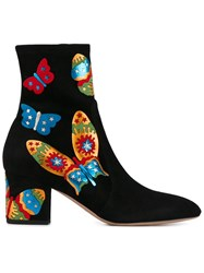 Valentino Butterfly Appliqued Ankle Boots Black