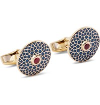 Deakin And Francis Enamelled 18 Karat Gold Ruby Cufflinks Gold