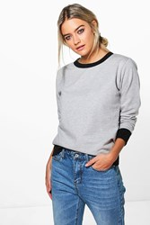 Boohoo Contrast Cuff And Hem Sweat Shirt Grey Marl