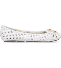 Michael Michael Kors Fulton Perforated Leather Moccasins White
