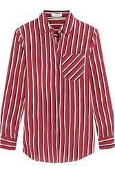 Altuzarra Striped Silk Crepe De Chine Shirt Claret Red