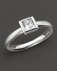 Bloomingdale's Bezel Set Princess Cut Diamond Ring In 18 Kt. White Gold 0.50 Ct. T.W. No Color