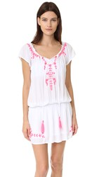 Tiare Hawaii Tulum Off The Shoulder Embroidered Dress White Pink
