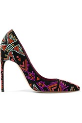 Brian Atwood Beaded Suede Pumps Black Purple