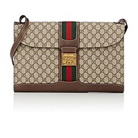 Gucci Men's Gg Supreme Print Portfolio Messenger Bag Tan