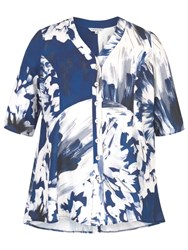 Chesca Abstract Block Flower Print Jacket Blue White
