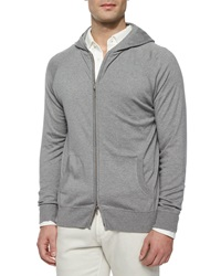 Loro Piana Hooded Full Zip Bomber Sweater Blue