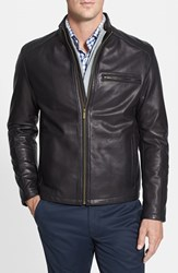 Men's Cole Haan Lambskin Leather Moto Jacket Black