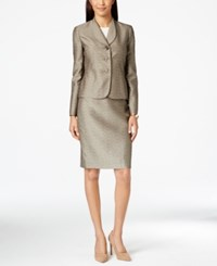 Le Suit Metallic Jacquard Jacket Skirt Suit