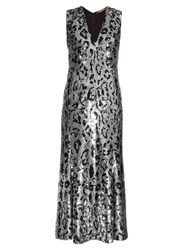 Roberto Cavalli Leopard Print Sequin Embellished Midi Gown Silver