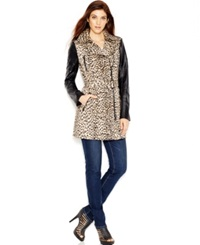 Guess Printed Faux Leather Detail Trench Coat Spanish Cheetah Desert