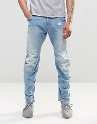 G Star Jeans Arc 3D Lose Tapered Light Aged Destroy Blue