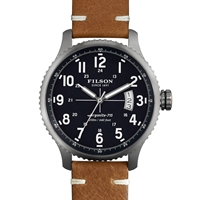 Filson Mackinaw Field Watch Navy And Tan Leather