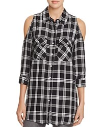 Aqua Finley Plaid Cold Shoulder Shirt Black