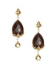 Azaara Smoky Topaz Drop Earrings Goldtone Gold Multi